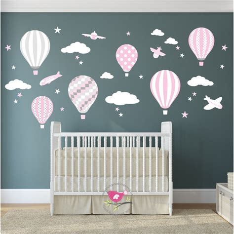 Hot Air Balloon Jets Wall Stickers Baby Pink Grey White Pink Wall Decals For Nursery