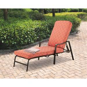 patio lounge chairs walmart mainstays chaise lounge orange geo pattern walmart