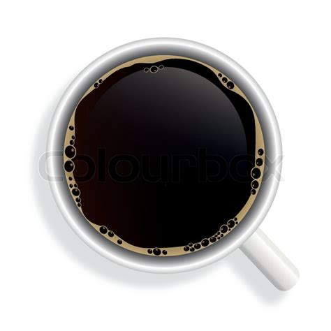 top of coffee cup top view of black coffee cup isolated on white background