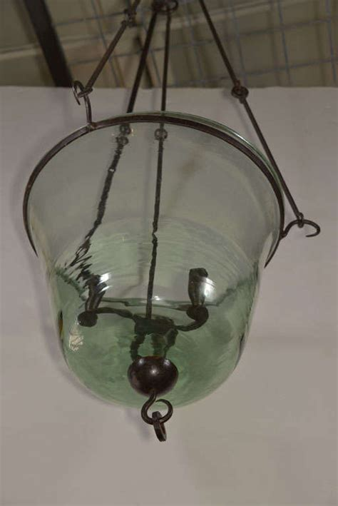 Glass Cloche Chandelier 19th Century Cloche Chandelier With Wrought Iron Hardware At 1stdibs