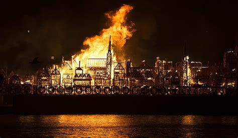 londons burning wooden replica set alight  mark