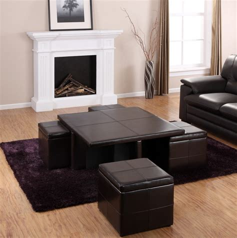 coffee table with pull out seats coffee table with pull out ottomans seat