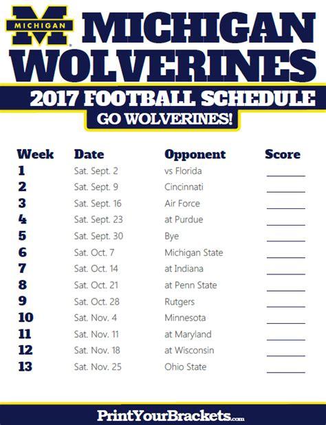 Big Ten Football Schedule 2017 Printable