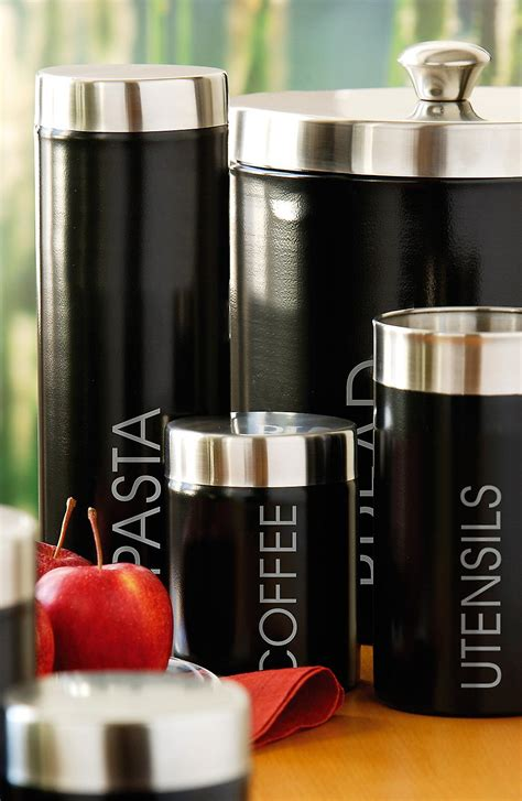 Premier Housewares Tea, Coffee & Sugar Canisters, Black