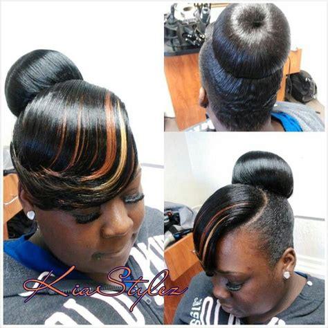 teen hairstyles for black girls bun and bang bun w tri feathered bang flawless hair buns updo s