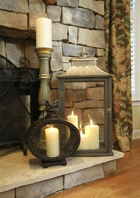 decor for fireplace lantern on fireplace hearth decorating inspiration