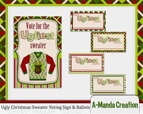 free printable ugly sweater voting ballots ugly christmas sweater party printable voting ballots and sign