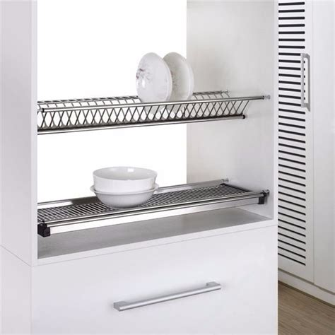 Stainless Steel Wall Mounted Plate Rack by 2 Tiers Kitchen Hanging Stainless Steel Wall Mounted Dish