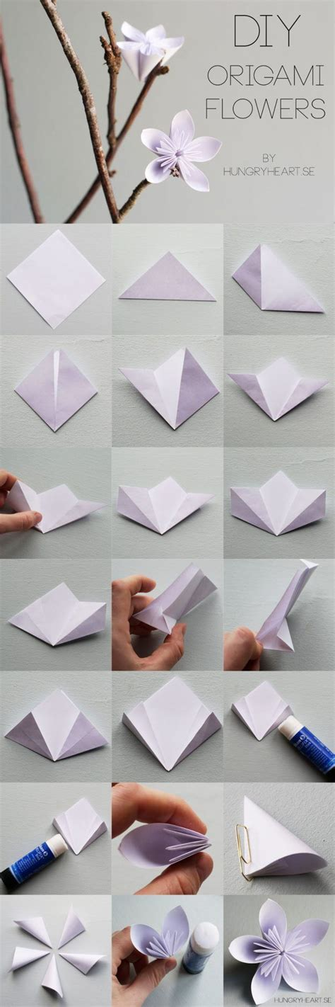 How To Fold Flowers Out Of Paper - 25 best ideas about origami flowers on paper