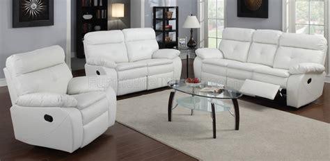 ga reclining sofa loveseat  white bonded leather