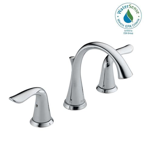 widespread bathroom sink faucet delta lahara 8 in widespread 2 handle bathroom faucet