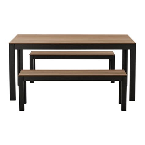 benches ikea falster table 2 benches outdoor black brown ikea