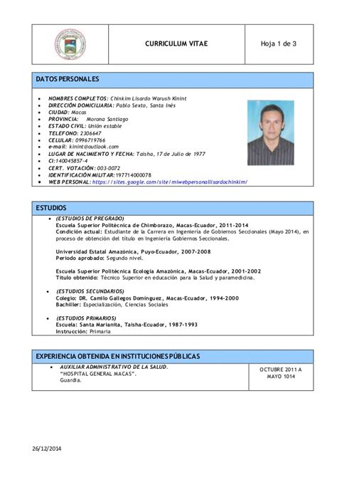 Curriculum Vitae Modelo Chile 2015 Word modelo cv lisardo 2015