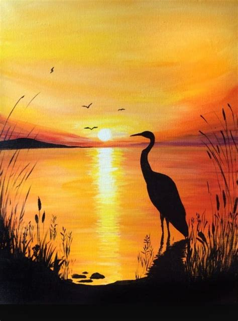 acrylic painting on canvas cranes sunset crane at sunset drawing painting and diy