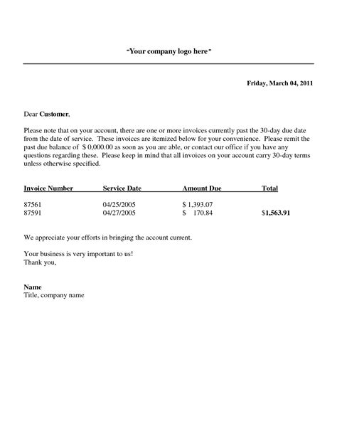 outstanding invoice letter template 10 best images of overdue invoice letter template past