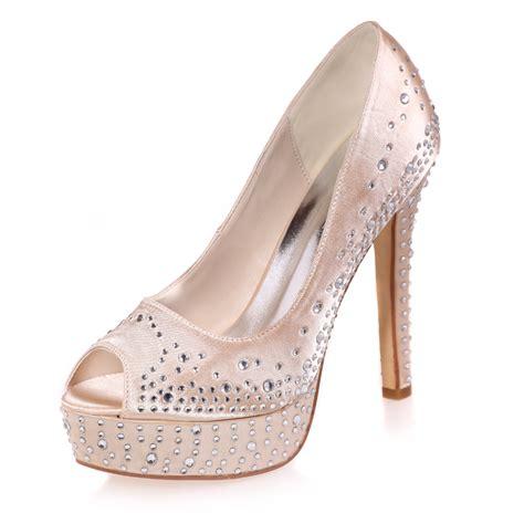 Platform High Silver And White platform high heels rhinestone silver grey blue white pink shoes for wedding