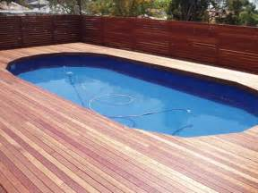 swimming pool decking here s some timber decking around an inground swimming