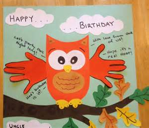 happy birthday card handprint quot with from owl