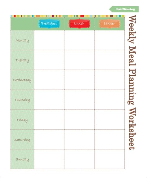monthly meal planning template search results for blank weekly meal planner template