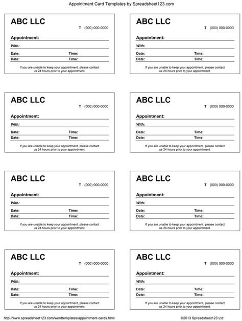 free printable appointment cards templates calendar