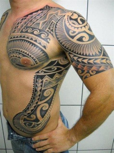 cool tribal chest shoulder and rib tattoos for men