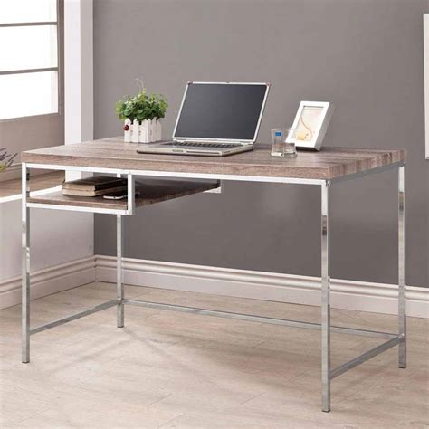 Home Office Writing Desk Home Office Writing Computer Desk W Reclaimed Wood Look Top Chrome Metal Base Ebay