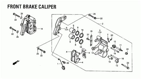 brake caliper parts diagram 1984 honda shadow 700 vt700c front brake caliper parts