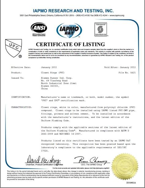 Plumbing Industry Commission Certificate Compliance by Upc Certificate Of Closet Rings Pvc Ningbo Runner
