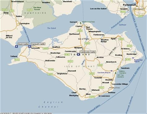 printable road map of isle of wight castle isle of wight images