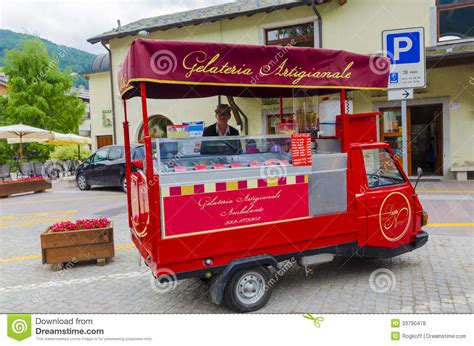 Mobile Shop Seller Of Italian Fruit Ice Cream Editorial Stock Photo   Image: 33790478