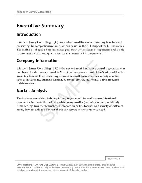 Elizabeth Jamey Consulting Business Plan V3 Page 04 Ej Consulting Consulting Business Plan Template