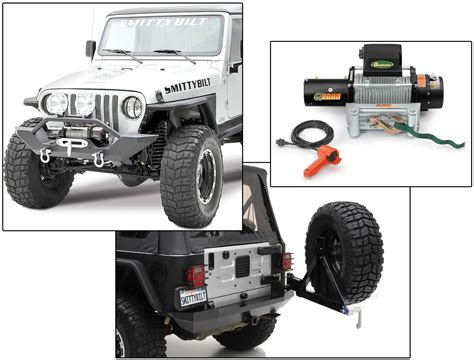 jeep yj winch smittybilt xrc front rear bumper with q9000 self