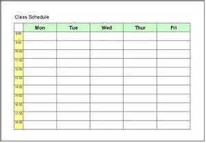 class schedule template schedule excel templates free