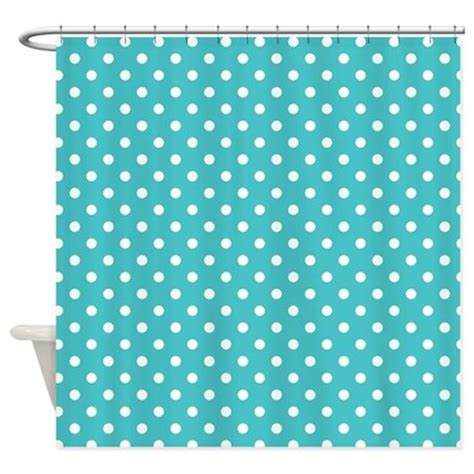 Polka Dot Blue And White Print Shower Curtain By