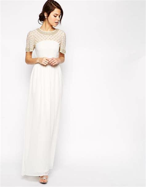 Dress Of The Day Tufi Duek Lattice Chest Swing Dress by Image 1 Of Asos Lattice Embellished Flutter Sleeve Maxi