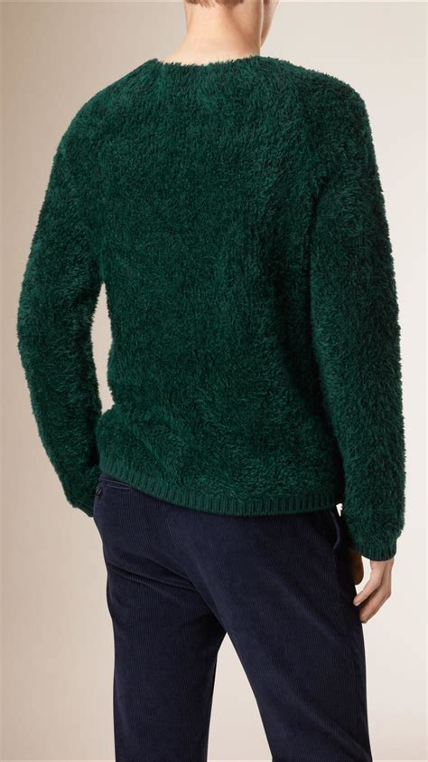 Teddy Sweater lyst burberry technical mohair teddy sweater in green for
