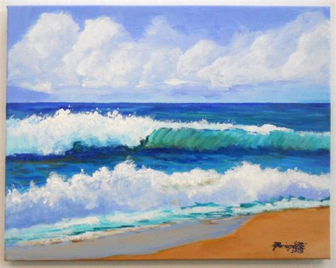 acrylic painting waves original acrylic painting from kauai hawaii by kauaiartist