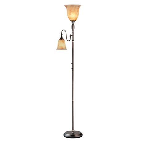 illumine 2 light floor l amber glass dark bronze finish
