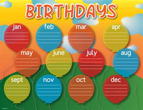birthday chart template for classroom birthday chart free printable