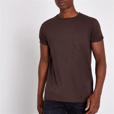 Brown T Shirt brown chest pocket sleeve t shirt t shirts