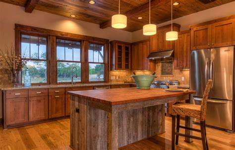 Cabin Kitchen Design Rustic Kitchen Island With Looking Accompaniment