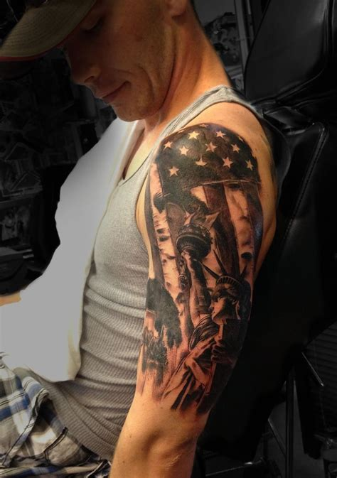 patriotic half sleeve tattoo designs 1000 ideas about american flag tattoos on