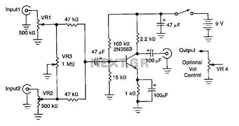 basic bipolar transistor mixer circuit audio mixer circuit audio circuits next gr