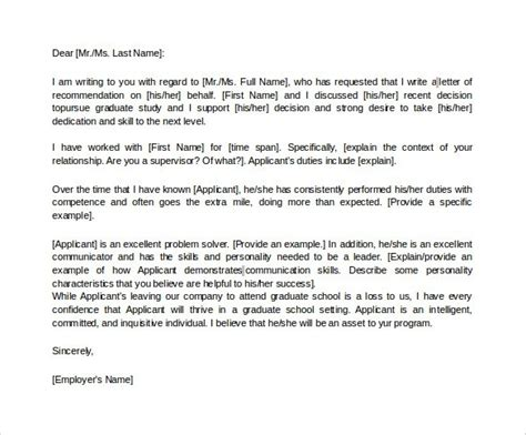 Recommendation Letter Sle For School By Employer graduate recommendation letter from employer the letter sle