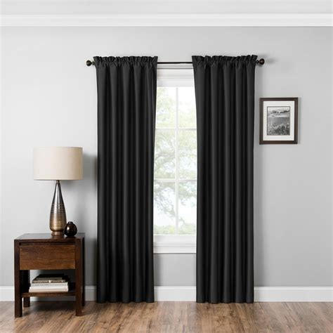 black eclipse curtains eclipse blackout miles 84 in l black rod pocket curtain