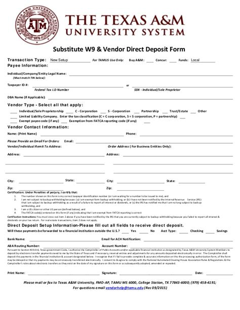 Stanford Mba Deposit Amount by Substitute W9 Vendor Direct Deposit