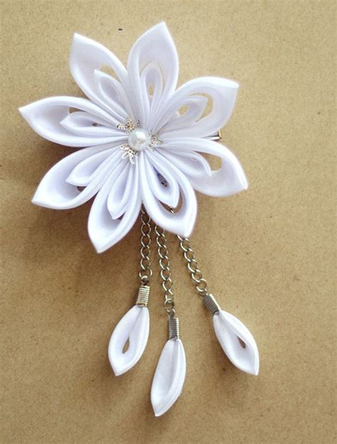 Wedding Hair Flowers Etsy by Kanzashi Flower Hair Clip Wedding Hair By Meanwhilecraft