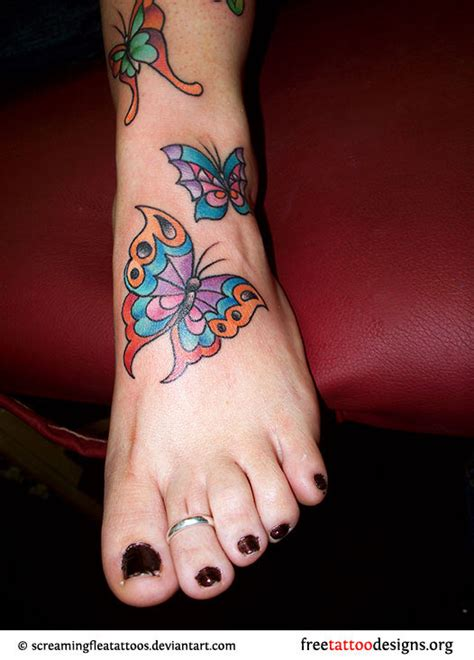 Foot Tattoo Gallery Free Butterfly Tattoos On Foot Designs And Ideas