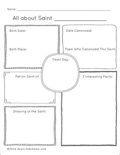 Saint Report Template saints printables and worksheet packet all saints day
