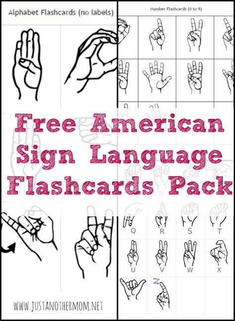 printable flashcards for sign language this week s freebie on just another mom is a free asl